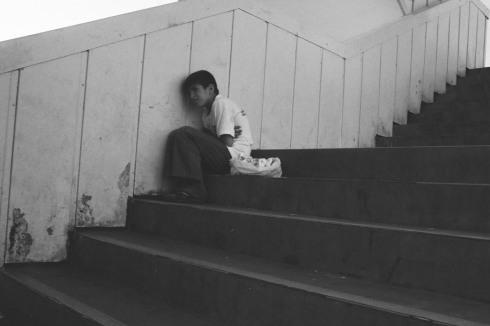 A very sad street kid on Galata bridge