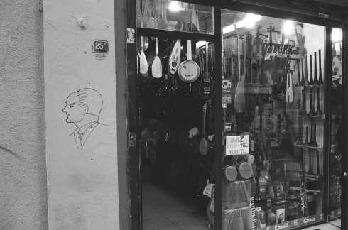 Ataturk outside an instrument shop in Galata