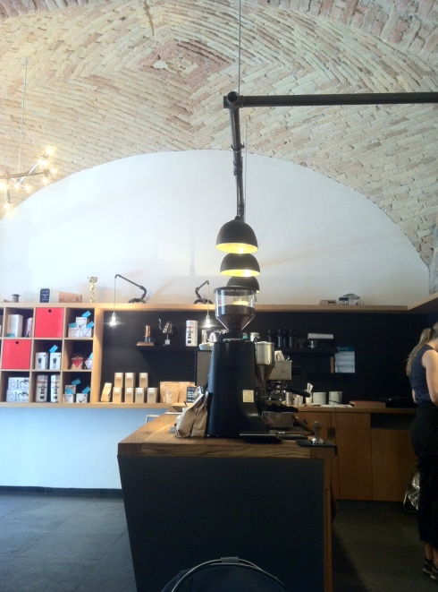 The decor and cool vaulted brick ceiling at Espresso Embassy