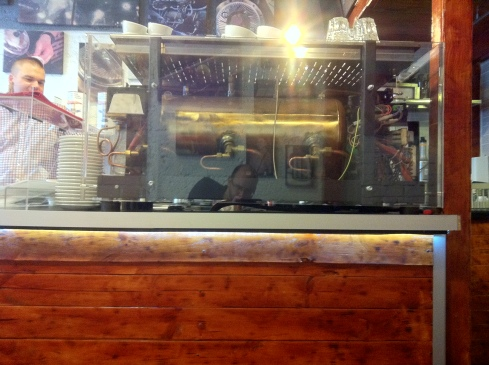 Clear-sided espresso machine