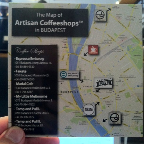 """The """"Artisan Coffeeshops"""" of Budapest map"""