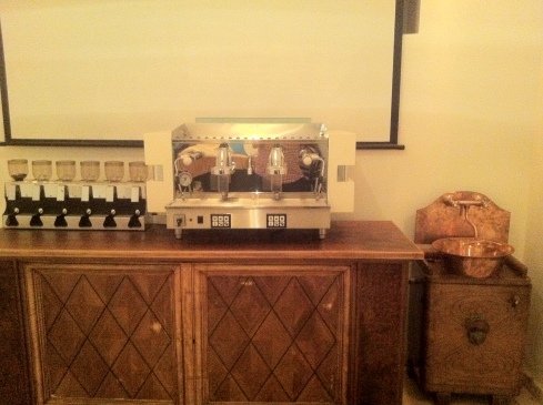 Custom-made espresso machine for the downstairs lab, with grinders and a custom copper sink